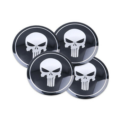 Punisher Car Wheel Center Sticker Hub Cap Emblem Badge Decal 4pcs 56mm Diameter