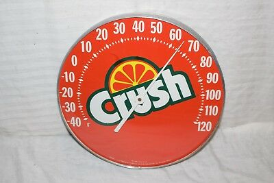 "Vintage 1960's Orange Crush Soda Pop 12"" Metal & Glass Thermometer Sign~Nice"