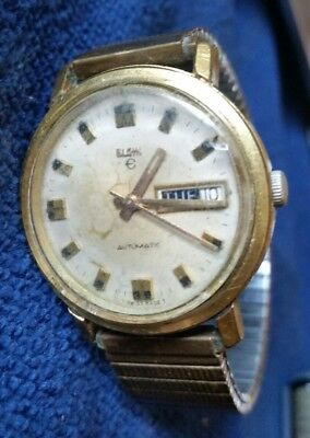 Vintage Elgin Day Date 17 Jewel Swiss Made Mechanical Automatic Mens Watch