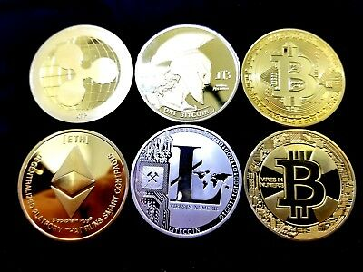 6 pcs collectible set Commemorative Bitcoin In Protective Acrylic Case US fast !