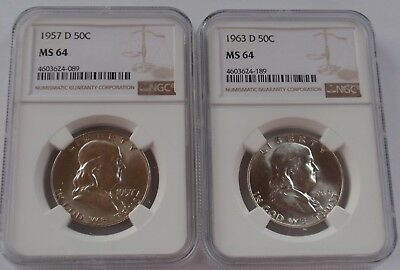 1957-D & 1963-D Franklin Silver Half Dollars Ngc Ms 64
