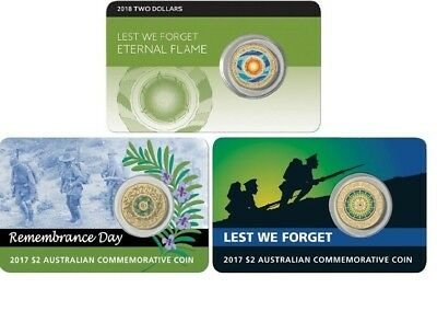 2018 $2 ETERNAL FLAME 2017 $2 Lest We Forget ANZAC & 2017 $2 Remembrance  CARDS