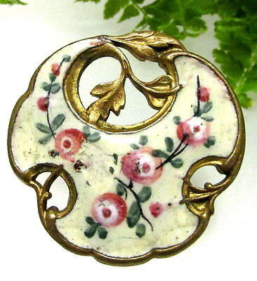 French Antique Champleve Enamel Button W/ Open Work Design ~Pink Roses Y66