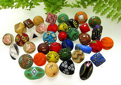 38  Colorful  Diminutive Czech Painted Glass Buttons Y91
