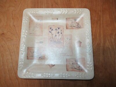 """Sonoma Life+Style SUMMER FIELDS Square Luncheon Plates 9""""     4 available"""