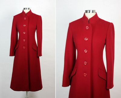 Vintage 80s 1980s TRIGERE Red Wool Princess Russian Style Coat M