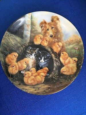 SHETLAND SHEEPDOG & Pair Cats / Kitten Collector Plate from BAVARIA 1992 limited