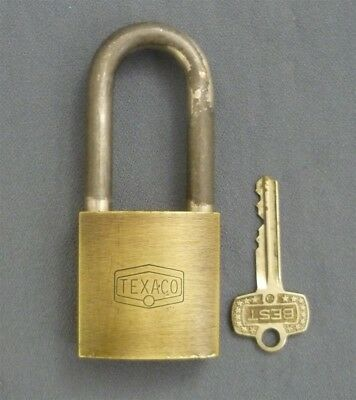 Vintage Brass BEST Branded Engraved TEXACO Padlock and Key VBC5