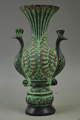 Old Collectibles Decorated Bronze Carve Pair Auspicious Peacock Rare Noble Vase