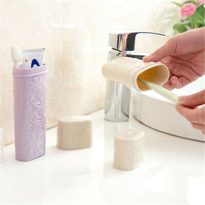 Portable Flower Carved Toothpaste Toothbrush Holder Case Travel Wash Clean Cap