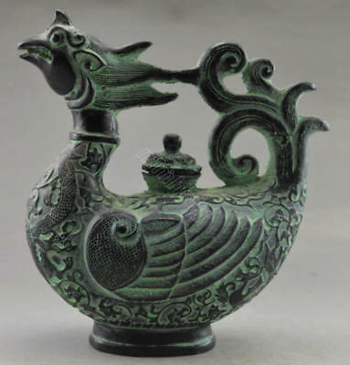 Collectible Decorated Old Handwork Bronze Carved Phoenix Big Tea Pot