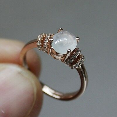 Size 6 ** CERTIFIED Grade A Natural Icy White Jadeite JADE Ring 925 Silver #R141