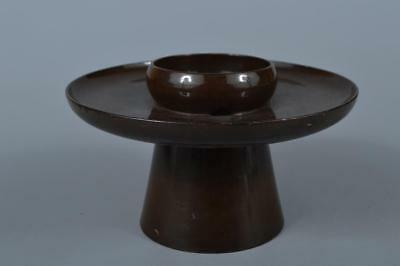 K7610:Japanese Wooden Lacquerware Tenmoku TEABOWL STAND/tray Powdered green tea