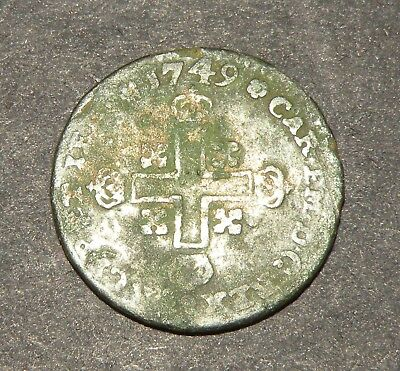 Post Medieval Coin 1749 Christian Cross  Colonial Billon Antique Europe France?