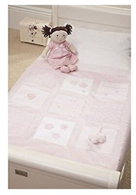 Silver Cross Vintage Pink Baby Girls Pink Cot Bed Quilt,  117cms x 100 cms