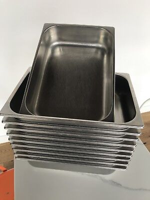 5L Gelato Pans - Wide Stainless Steel - Lot Of 8