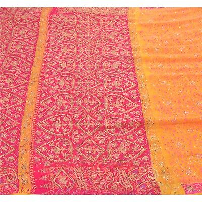 Sanskriti Antique Vintage Saree 100% Pure Silk Hand Embroidery Craft Fabric Prem