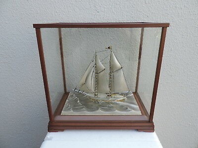 STUNNUNG JAPANESE LARGE SOLID STERLING SILVER 980 MODEL SHIP BY SEKI 216gr JAPAN