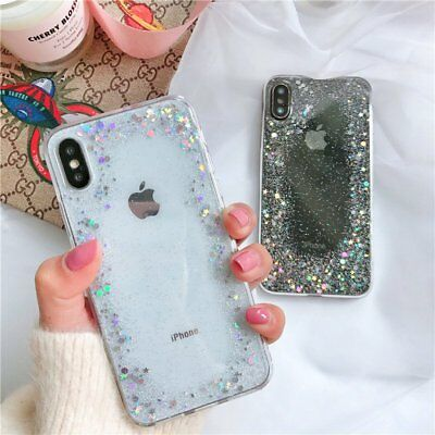 Glitter Shockproof Gel Soft Case Silicone Cover for Apple iPhone X 7 Plus 8 6s