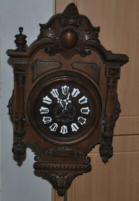 Samuel Marti Medaille de Bronze Carved Black Forrest Wall Clock 19C Repairs