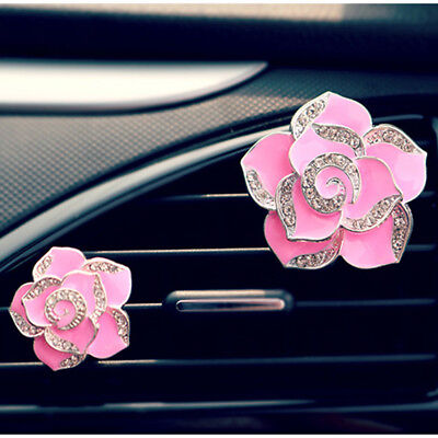 2pc Car Perfume Seat Ornaments with Crystal Camellia Flower Car Accessories Pink