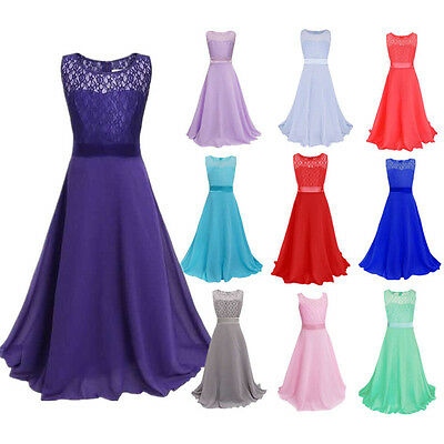Girl Kid Lace Flower Bridesmaid Party Princess Prom Wedding Christening Dress UK