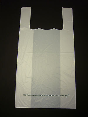"White 100% Bio Degradable Carrier Bag 11"" x 17"" Pack 100"