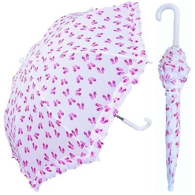 "32"" Arc Children Kid Pink Flip Flop Umbrella - RainStoppers Rain/Sun UV Cute"
