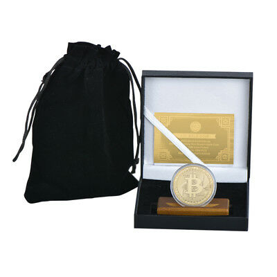WR BTC Coin 24K Gold Plated Physical Bitcoin Collector Item /w Stand In Gift Box