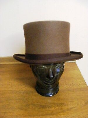 Vintage brown top hat topper wool felt Steampunk Victorian Dandy XL size 7 1/4UK