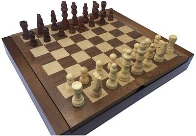CLASSIC CHESS BOARD AND MEN WITH FOLDING COMPARTMENT TO STORE PIECES(24cm by 21)