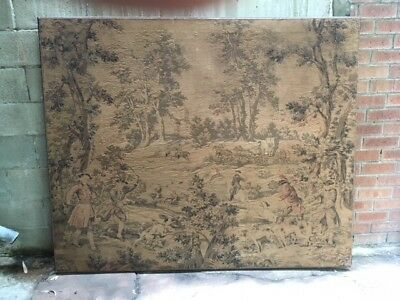Large French Antique Tapestry - Country Home Or Large Contemporary Minimal