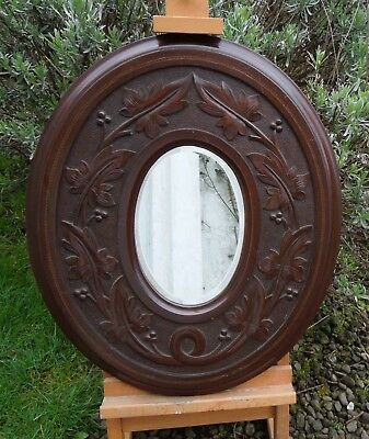 Antique Edwardian Carved and Inlaid Mahogany Oval Mirror