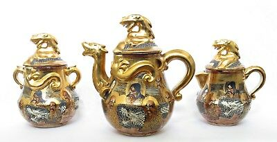 ANTIQUE MEIJI JAPANESE SATSUMA GILT DRAGON WARE TEA SET IMMORTALS, SIGNED, c191
