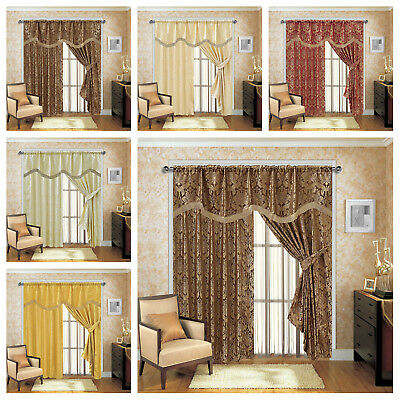 New Jacquard Pencil Pleat Fully Lined Tape Top Pelmet Curtains with 2 Tiebacks