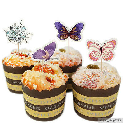 24 Schmetterling Butterfly Toppers Cupcake Kinder Geburtstag Muffin