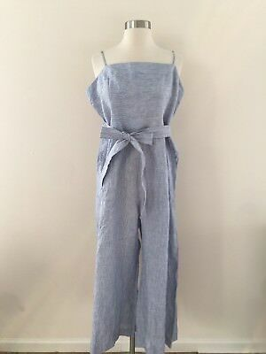3ef2375ee4a NWOT JCREW Striped Linen Jumpsuit With Tie Size 14 Blue White Stripes G5964