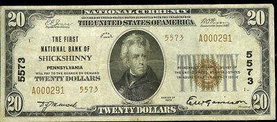 1929 Shickshinny, Pa. $20 National Currency Bank Note  Rare Bank Note!