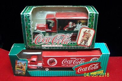 Two Coca-Cola Diecast Metal Banks - 18 Wheeler Truck & Vintage Delivery Truck