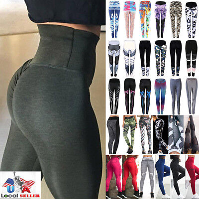 US Women Sexy Push Up Yoga Pants Sport Gym Skinny Leggings Fitness Trousers M620