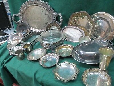 NICE 23 LOT OF VINTAGE SILVERPLATE PLATTERS, CUPS, BOWLS, CASSEROLE DISH#2171/p4