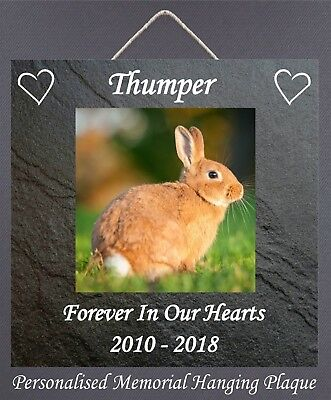 Rabbit Memorial Plaques Personalised Wooden Hanging Sign Your Picture Name