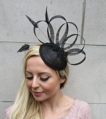 Black Sinamay Feather Pillbox Hat Fascinator Races Funeral Hair Clip Vtg 5654