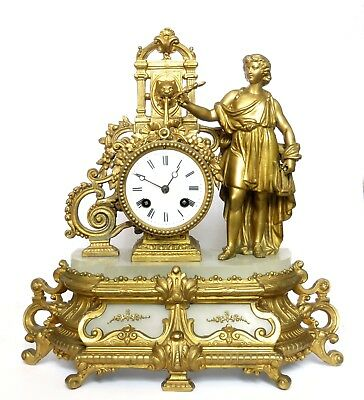 Antique French Marble & Gilt Striking Mantel Clock, Apollo, Lyre, Lion Fountain