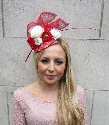 Red Cream Ivory Rose Flower Feather Hat Fascinator Races Hair Wedding 5659