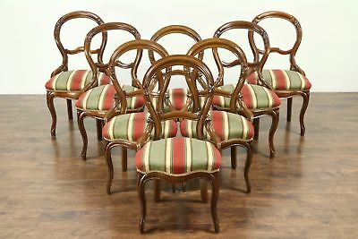 Victorian Set of 8 (4+4) Antique 1860's Carved Walnut Dining Chairs