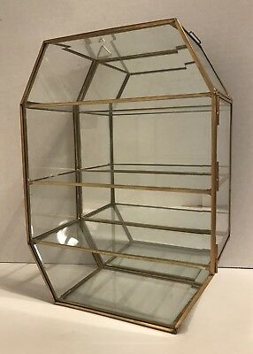 Vintage Brass Glass Mirrored Curio Display Case Cabinet 3 Shelves Wall Hanging