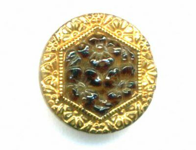 Vintage Button…Glass Imitating Tortoise Shell with Gold Border