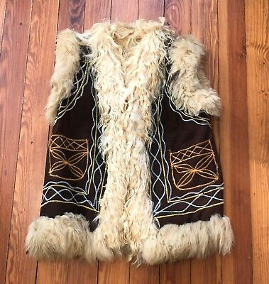 VINTAGE 60s 70s AUTHENTIC AFGHAN EMBROIDERED SHEARLING VEST, HIPPIES BOHO