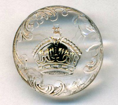 Antique Button…Pictorial Victorian Clear Glass with Gold Crown…As-Is